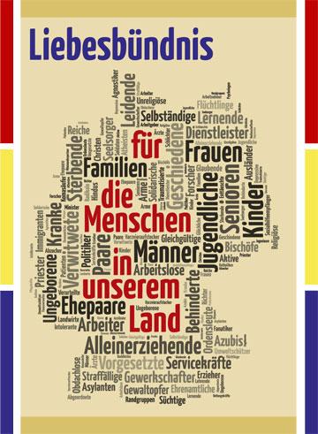 """Wortwolke """"Liebesbündnis für"""" (Gestaltung: Brehm)"""