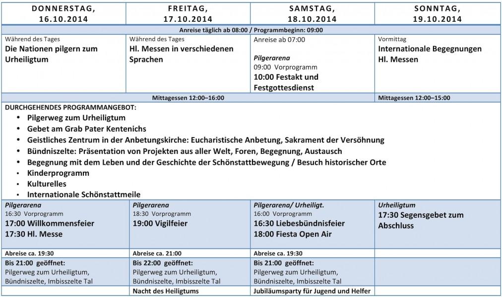 Programmübersicht Jubiläum 2014 (Foto: schoenstatt2014.org)
