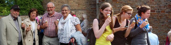 Der scheidende Diözesanpräses spendierte den Pilgern ein Eis. (Foto: Brehm)