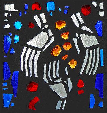 Der Mensch mit Gott im Bund: Beton-Glasfenster Haus Providentia KO-Metternich (Entwurf: Walter Bettendorf)