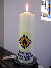 """Eine """"Pilgerkerze"""" verbindet die Beter im Heiligtum in Borken mit den Pilgern, die unterwegs sind (Foto: Gehling)"""