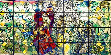 St. Martin und der Bettler: Glasfenster im evangelischen Stift in Koblenz (Foto: HB)