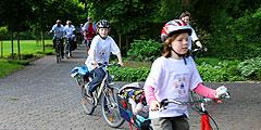 Ankunft einer Fahrrad-Pilger-Gruppe in Münster (Foto: Jestädt)