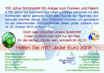 """Flyer zur Aktion  """"Weltweit solidarisch""""  (Projekt Pilgerheiligtum)"""