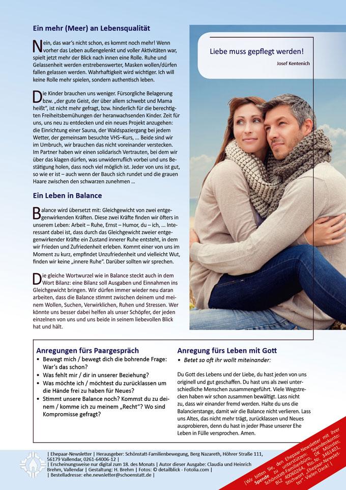 """Ehepaar-Newsletter 09/2013 """"Wir zwei - Immer wieder neu"""" S.1 (Fotos: © detailblick - Fotolia.com)"""