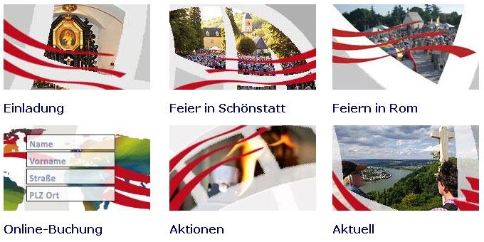 Auswahlmenu der Homepage der Schönstatt-Bewegung Deutschland zum Jubiläum 2014 (Foto: Brehm)