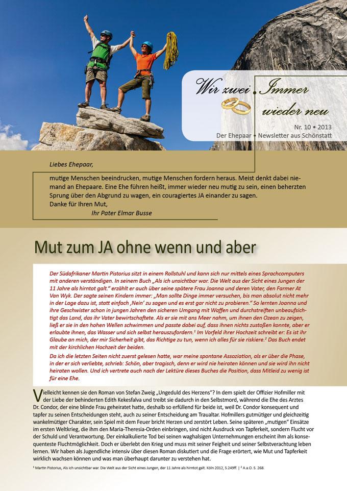 """Ehepaar-Newsletter 10/2013 """"Wir zwei - Immer wieder neu"""" S.1 (Fotos: © Greg Epperson - Fotolia.com)"""