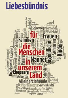 """Wortwolke zum """"Liebesbündnis für die Menschen in unserem Land"""" (Grafik: Brehm)"""