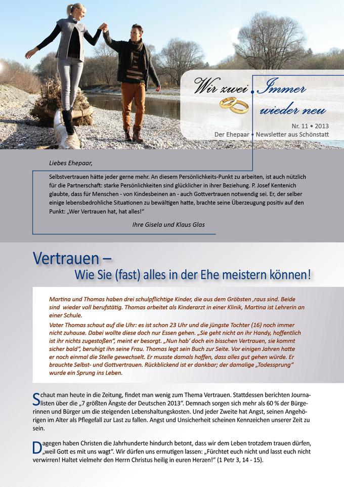 "Ehepaar-Newsletter 10/2013 ""Wir zwei - Immer wieder neu"" S.1 (Fotos: © W. Heiber Fotostudio - Fotolia.com)"