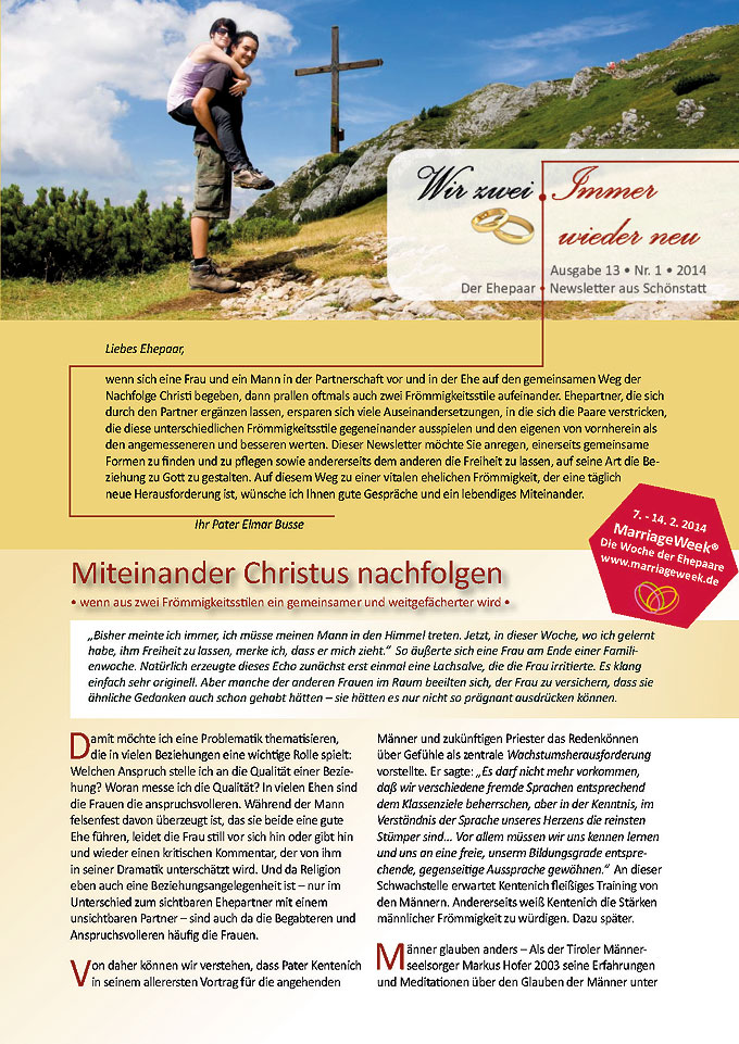 """Ehepaar-Newsletter 01/2014 """"Wir zwei - Immer wieder neu"""" S.1 (Fotos: © bettina sampl - Fotolia.com)"""