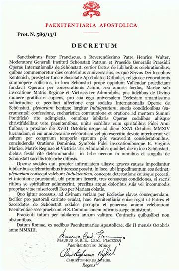 """Originaldekret der päpstlichen Verwaltungsbehörde """"Paenitentiaria Apostolica"""""""