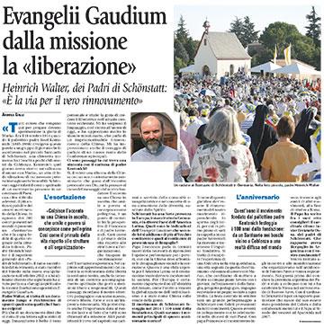 Artikel in Avvenire, Ausgabe vom 26. Januar 2014 (Foto: Zeitungsausschitt)