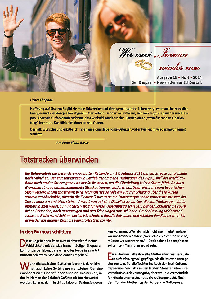 """Ehepaar-Newsletter 04/2014 """"Wir zwei - Immer wieder neu"""" S.1 (Fotos: © william87 - Fotolia.com)"""