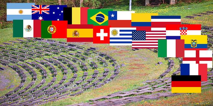 Die 19 Länder, die sowohl ein Team zur Fußball-WM nach Brasilien entsenden und auch mit Delegationen beim Schönstatt-Jubiläum im Oktober vertreten sein werden sind: Argentinien, Australien, Belgien, Brasilien, Chile, Costa Rica, Deutschland, Ecuador, England, Frankreich, Italien, Kolumbien, Kroatien, Mexico, Portugal, die Schweiz, Spanien, Uruguay und die USA.   (Fotomontage: Hbre; Flaggen Wikipedia)