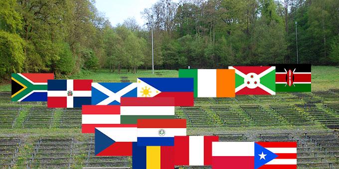 Aus 15 weiteren Ländern, die nicht mit Mannschaften in Brasilien vertreten sind, sind Delegationen zur Teilnahme am Schönstatt-Jubiläum gemeldet: Burundi, Dominikanische Republik, Irland, Kenia, Österreich, Paraguay, Peru, Philippinen, Polen, Puerto Rico, Rumänien, Schottland, Süd-Afrika, Tschechien und Ungarn. (Fotomontage: Hbre; Flaggen Wikipedia)