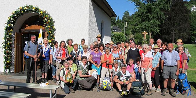Ankunft nach 6 Etappen am Ziel: dem Heiligtum der Dreimal Wunderbaren Mutter, Königin und Siegerin von Schönstatt in Vallendar (Foto: Wehrle)