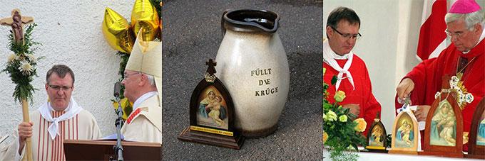 Aussendungsfeier mit Bischof Algermissen / Das Bild der Pilgernden Gottesmutter von Schönstatt und der Krug mit den Anliegen sind immer dabei / Hl. Messe mit Weihbischof Diez in Kleinheiligkreuz (Foto: Burkard)