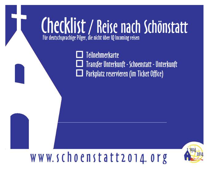 Checkliste für die Reise nach Schönstatt (Foto: SICT)