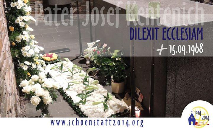 Dilexit ecclesiam - Er liebte die Kirche steht auf dem Sarkophag Pater Kentenichs, der am 15.8.1968 an diesem Ort verstorben ist (Foto: SICT)