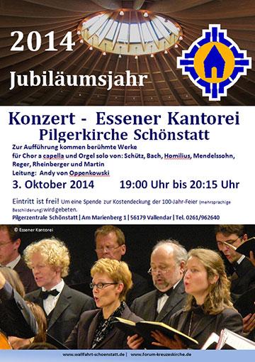 Plakat zum Konzert der Essener Kantorei in Schönstatt (Grafik: Schönstatt Pilgerzentrale)