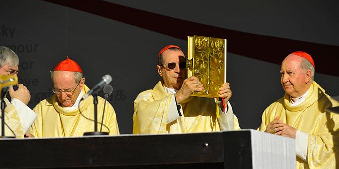 Giovanni Kardinal Lajolo ist Hauptzelebrant, Mit ihm am Altar die beiden emeritierten Kardinäle Joachim Meisner (l) und Francisco Javier Errázuriz Ossa (Foto: Kröper)