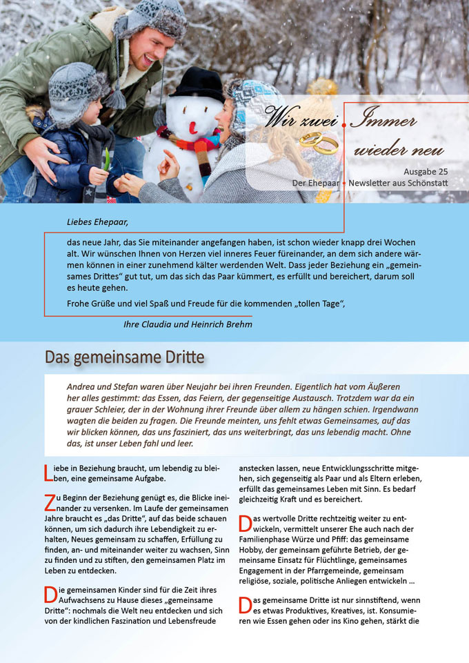 """Ehepaar-Newsletter 01/2015 """"Wir zwei - Immer wieder neu"""" (Foto: © drubig-photo - Fotolia.com)"""