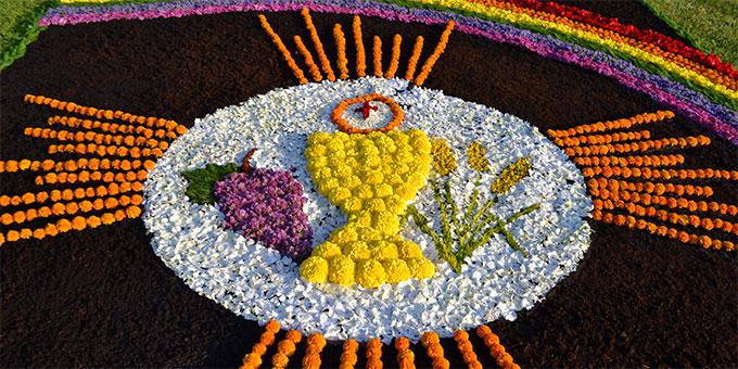Fronleichnams-Blumenteppich: Motiv aus 2014 (Foto: s-ms.org)