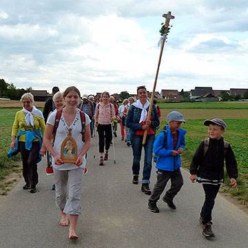 Mit dem Pilgerkreuz und dem Pilgerheiligtum unterwegs (Foto: Steiner)