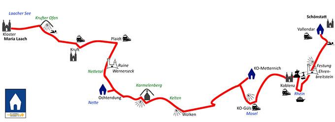 Übersichtsplan über den Schönstatt-Pilgerweg von Maria Laach zum Urheiligtum in Schönstatt (Foto: Herter)