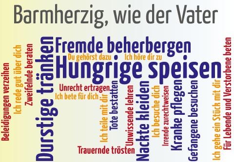 Wortwolke Werke der Barmherzigkeit (Grafik: Brehm)