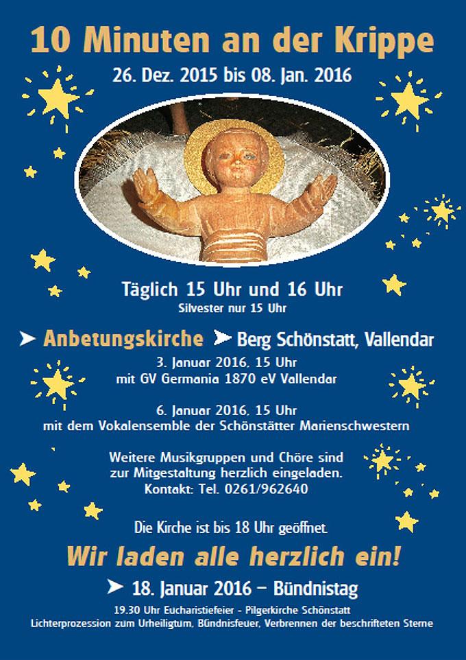 PLAKAT: 10 Minuten an der Krippe in der Anbetungskirche Berg Schönstatt in Vallendar