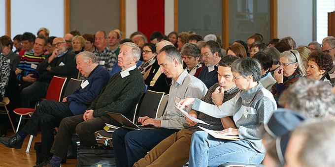 """150 Vertreter verschiedenster Gemeinschaften aus dem Netzwerk """"Miteinander für Europa"""", unter ihnen etliche Schönstätter, trafen sich in Würzburg (Foto: Bianca Bauer, Aglow)"""