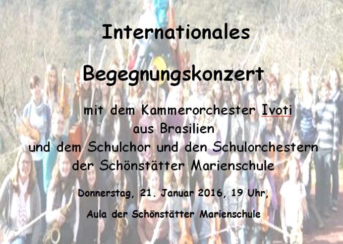 Plakat internationales Begegnungskonzert (Gestaltung: Schönstätter Marienschule)