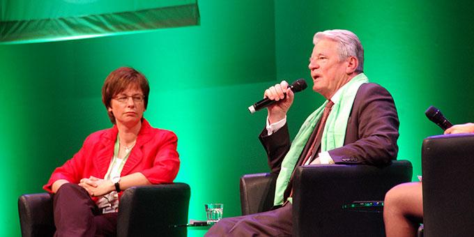 Bundespräsident Joachim Gauck bei einem Podium beim Katholikentag (Foto: Brehm)