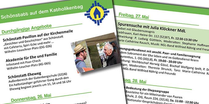 "Flyer ""Schönstatt auf dem Katholikentag"" (Foto: Hernadi)"