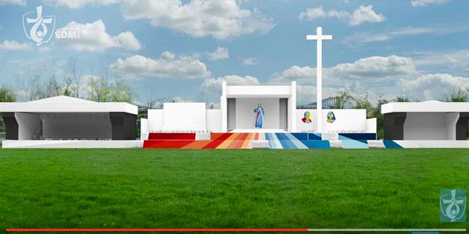 Modell des Altarbereiches für die Papstbegegnung beim WJT 2016 (Foto: www.krakow2016.com)