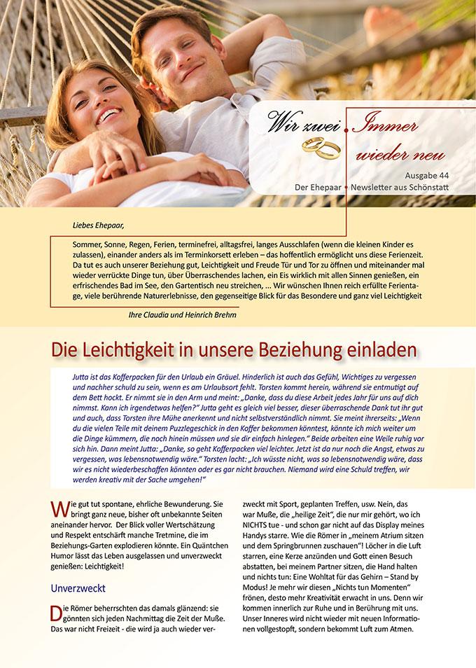 "Ehepaar-Newsletter 08/2016 ""Wir zwei - Immer wieder neu "" (Foto: © EpicStockMedia - Fotolia.com)"