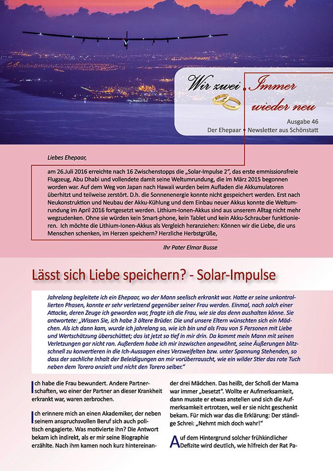 """Ehepaar-Newsletter 10/2016 """"Wir zwei - Immer wieder neu"""" (Foto: © solarimpulse.com)"""