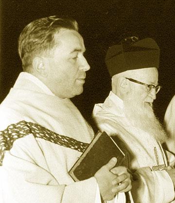 Hermann Gebert zusammen mit dem Schönstatt-Gründer Pater Josef Kentenich, Würzburg, November 1966 (Foto: Archivfoto)