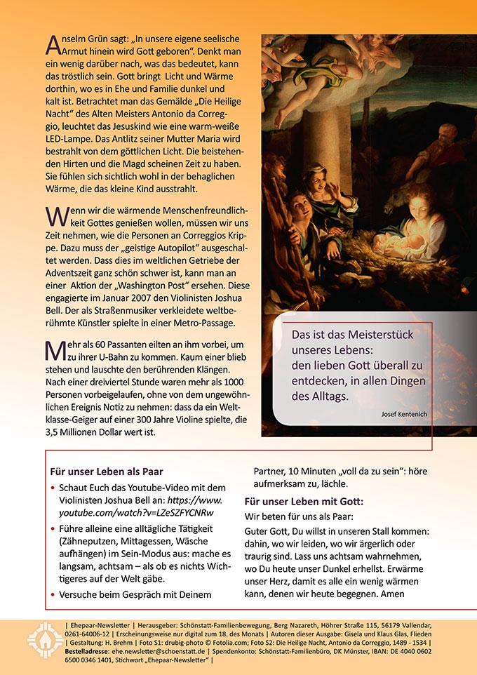 """Ehepaar-Newsletter 12/2016 """"Wir zwei - Immer wieder neu"""""""