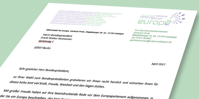 Miteinander für Europa gratuliert Bundespräsident Steinmeier (Foto: MfE)