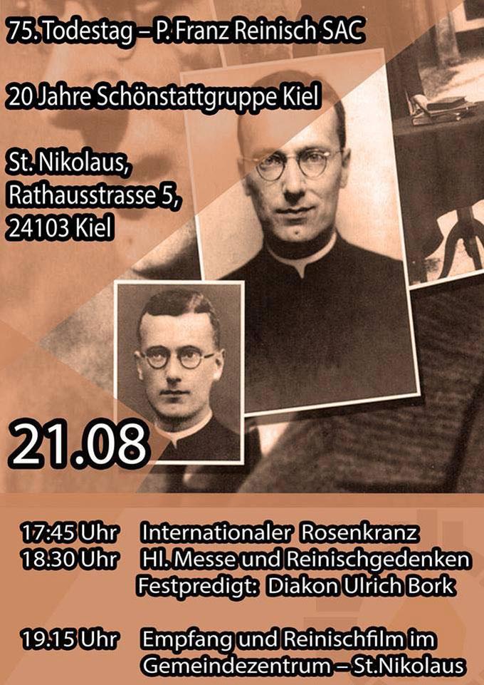 Plakat Franz Reinisch Gedenkfeier in Kiel