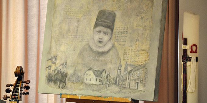 Josef Kentenich als Kind, verbunden dargestellt mit Wortfragmenten und Szenen des Gymnicher Lebens. Ein Bild der Künstlerin Marion Nitsche (Foto: Karl Wolf)