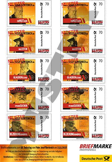 Josef-Kentenich-Briefmarkenset im Kentenich-Jahr 2018 (Gestaltung: Hbre)