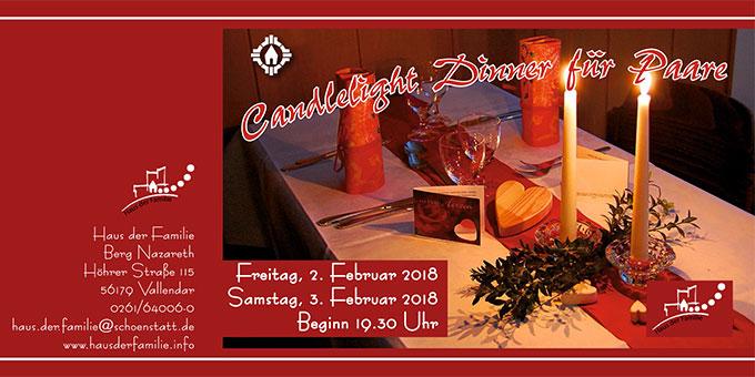 Candlelight Dinner im Haus der Familie, Vallendar-Schönstatt - Flyer-Cover (Grafik: Brehm)