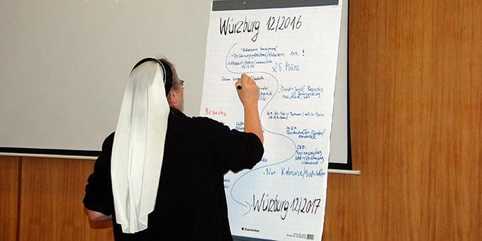 Schwester Nicole Grochowina, Christusbruderschaft Selbitz, hält Ereignisse auf dem Miteinander-Weg des vergangenen Jahres fest (Foto: Brehm)