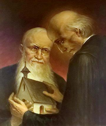 Josef Kentenich und Vinzenz Pallotti, Gemälde (1951) aus der ehemaligen Hauskapelle im Priesterhaus Marienau (Foto: Brehm)