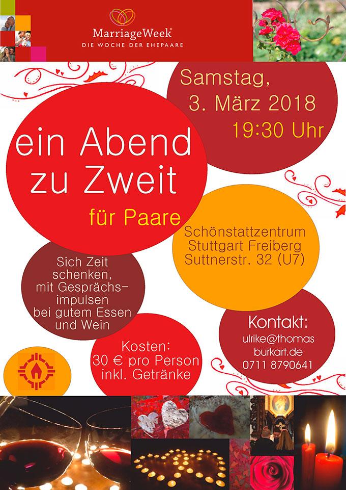 """Flyer zum """"Abend zu Zweit"""" in Stuttgart"""