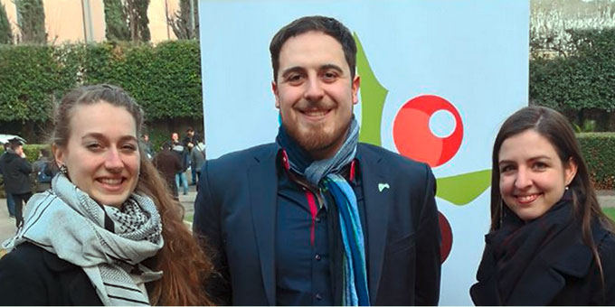 Magdalena Hartmann, Thomas Andonie und Alina Oehler haben als Delegierte der Deutschen Bischofskonferenz an der Jugend-Vorsynode in Rom teilgenommen (Foto: privat)