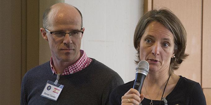 Ana und Daniel Candel, Spanien, stellen das in Spanien praktizierte Modell der Ehevorbereitung vor (Foto: Lilek)